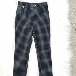 H&M Women pants Size 10 plaid checked black white